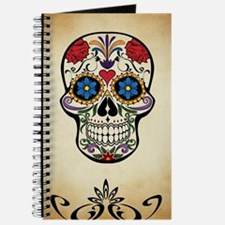 Sugar skull with Brown Background. Journal