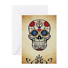 Sugar skull with Brown Background. Greeting Cards