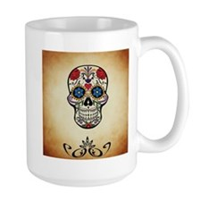 Sugar skull with Brown Background. Mugs