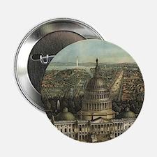 "Vintage Pictorial Map of Washington D 2.25"" Button"