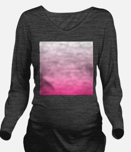 ombre hot pink Long Sleeve Maternity T-Shirt