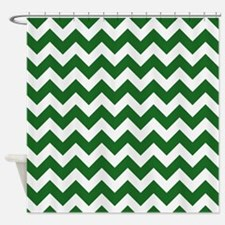 Green Chevron Stripes Shower Curtain