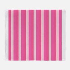 Pale Pink Striped Color Throw Blanket