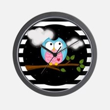 Pink Blue Owl Black Stripes Wall Clock