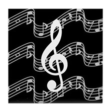 Music Staffs with Treble Clef Tile Coaster