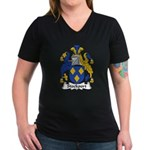 Stockport Family Crest Women's V-Neck Dark T-Shirt