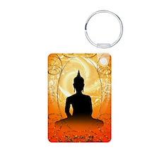 Buddha on mysical background Keychains