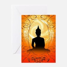 Buddha on mysical background Greeting Cards