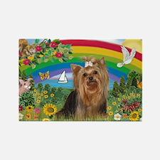 Rainbow/Yorkie (#7) Rectangle Magnet