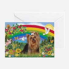 Rainbow/Yorkie (#7) Greeting Card