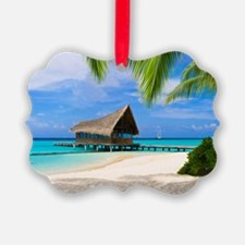 Beach And Bungalow  Ornament
