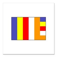 "Flag of Buddhism Square Car Magnet 3"" x 3"""