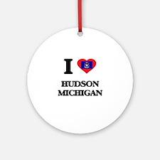 I love Hudson Michigan Ornament (Round)