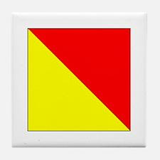 "ICS Flag Letter ""O"" Tile Coaster"