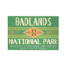 Badlands National Park (Retro) Rectangle Magnet