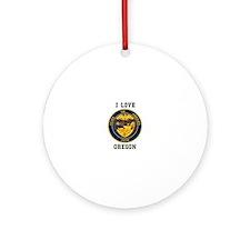 I Love Oregon Seal Ornament (Round)
