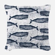 Vintage Whale Pattern Blue Woven Throw Pillow