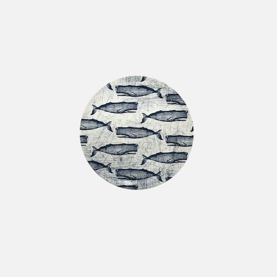 Vintage Whale Pattern Blue Mini Button