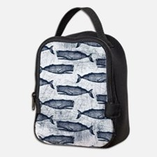 Vintage Whale Pattern Blue Neoprene Lunch Bag