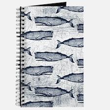 Vintage Whale Pattern Blue Journal