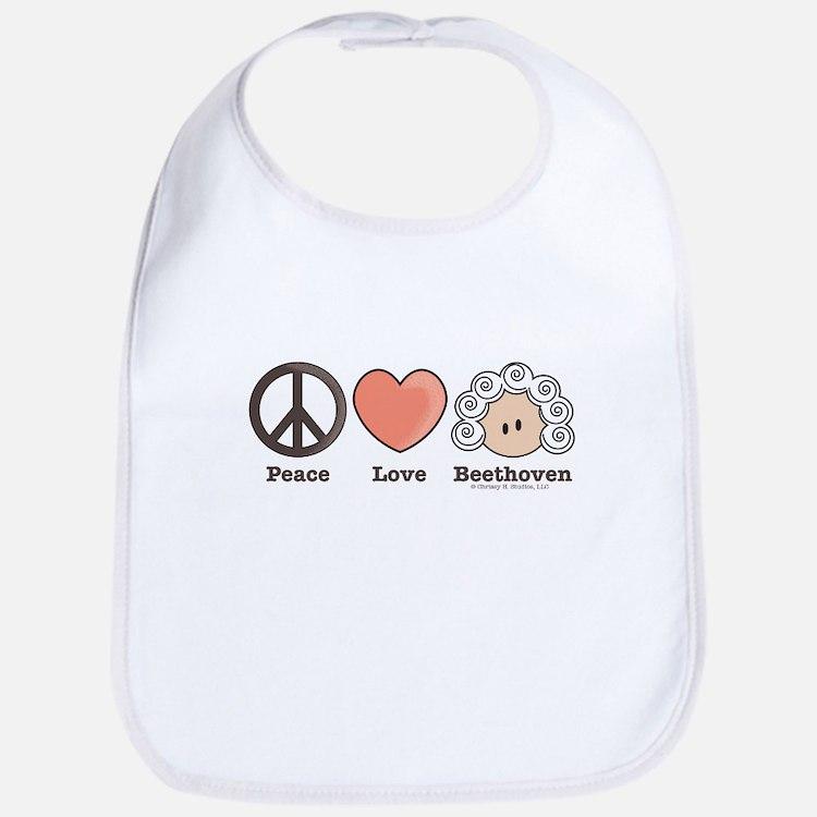 Peace Love Beethoven Bib