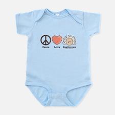 Peace Love Beethoven Blue Infant Onesie Creeper