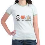 Peace Love Heart Beethoven Pink Jr. Ringer T-Shirt