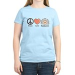 Peace Love Heart Beethoven Women's Pink T-Shirt