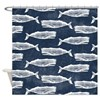 Vintage Whale Pattern White Shower Curtain