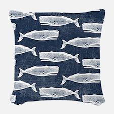 Vintage Whale Pattern White Woven Throw Pillow