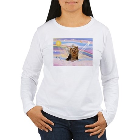 Clouds/Yorkie Angel #7 Women's Long Sleeve T-Shirt