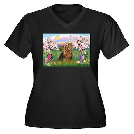 Blossoms/Yorkie #7 Women's Plus Size V-Neck Dark T