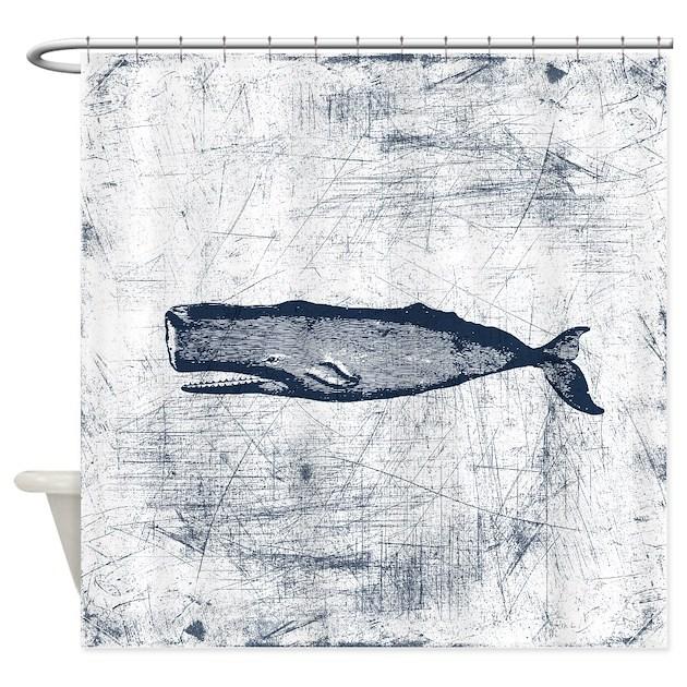 Vintage Whale Dark Blue Shower Curtain By Trendyteeshirts