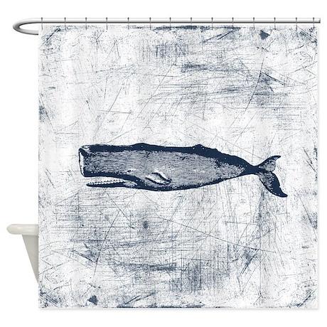 Vintage Whale Dark Blue Shower Curtain
