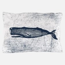 Vintage Whale Dark Blue Pillow Case