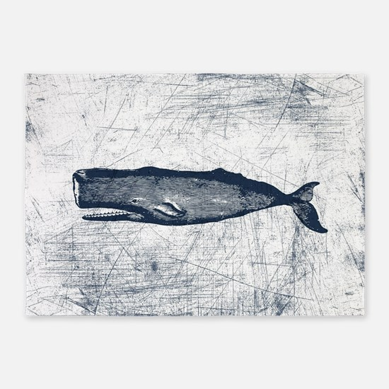 Vintage Whale Dark Blue 5'x7'Area Rug