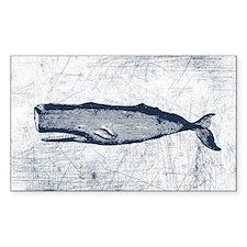Vintage Whale Dark Blue Decal