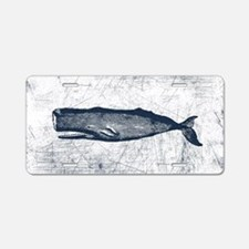 Vintage Whale Dark Blue Aluminum License Plate