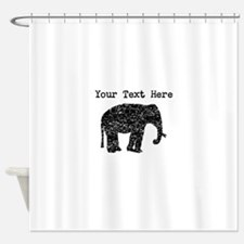 Distressed Elephant Silhouette (Custom) Shower Cur