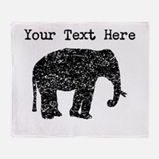 Distressed Elephant Silhouette (Custom) Throw Blan