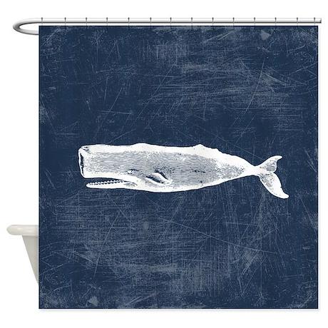 Vintage Whale White Shower Curtain