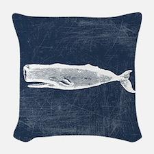 Vintage Whale White Woven Throw Pillow