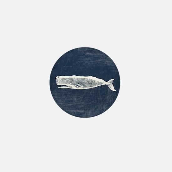 Vintage Whale White Mini Button