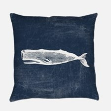 Vintage Whale White Everyday Pillow