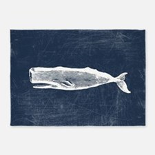 Vintage Whale White 5'x7'Area Rug