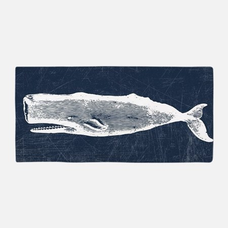 Vintage Whale White Beach Towel