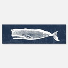 Vintage Whale White Sticker (Bumper)