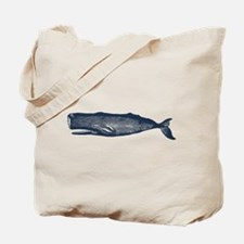 Vintage Whale Dark Blue Tote Bag