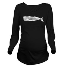 Vintage Whale White Long Sleeve Maternity T-Shirt