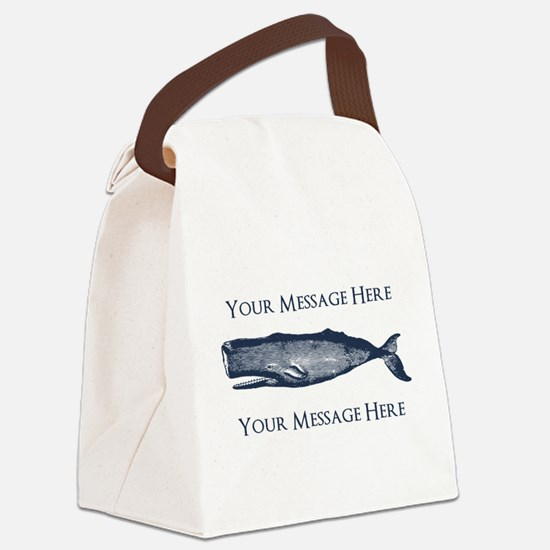 PERSONALIZED Vintage Whale Canvas Lunch Bag